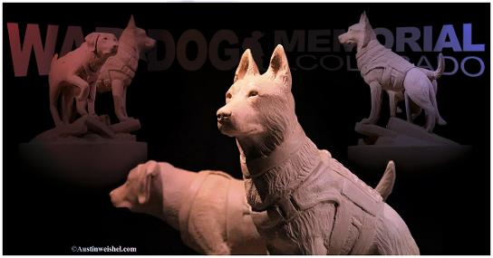 'Clay sketch' of the war dogs that will appear at the center of the memorial